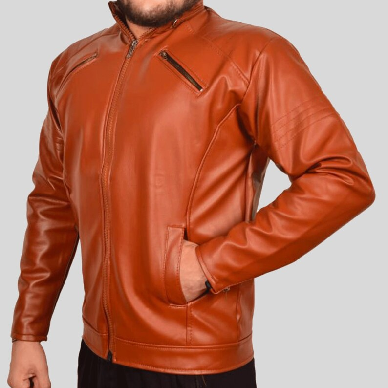 Leather Double press movies jacket,brown leather jacket,mens leather jacket,mens leather jacket