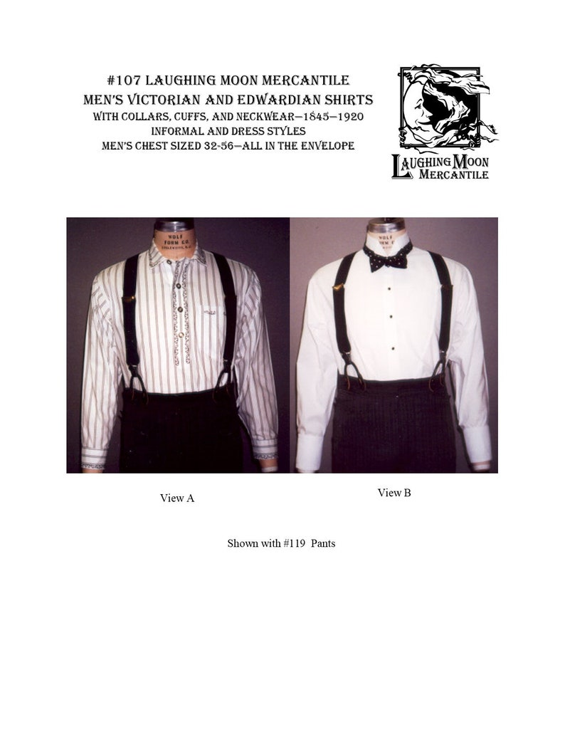 Men's Vintage Reproduction Sewing Patterns     Victorian and Edwardian Formal and Informal Shirts with Collars and Cuffs & Period Neckwear - Laughing Moon Mercantile #107 $7.95 AT vintagedancer.com