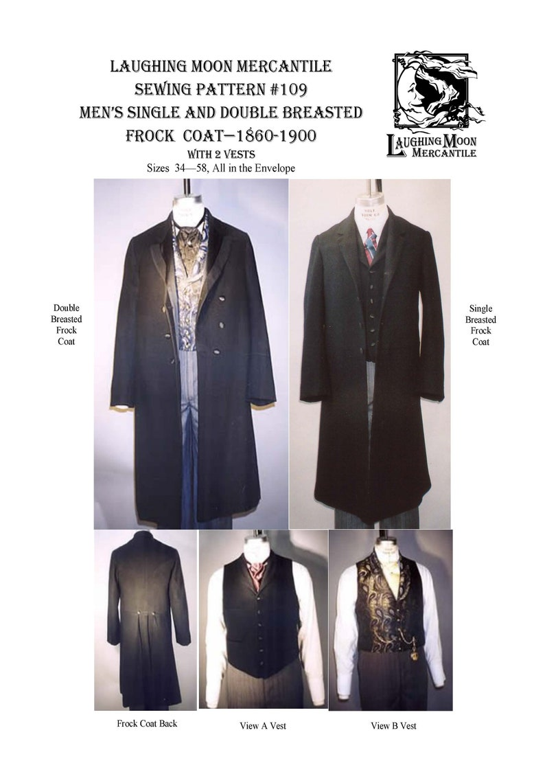 Men's Vintage Reproduction Sewing Patterns     Victorian and Edwardian Single and Double Breasted Frock Coats and 2 Vests - Laughing Moon Mercantile #109 $7.95 AT vintagedancer.com
