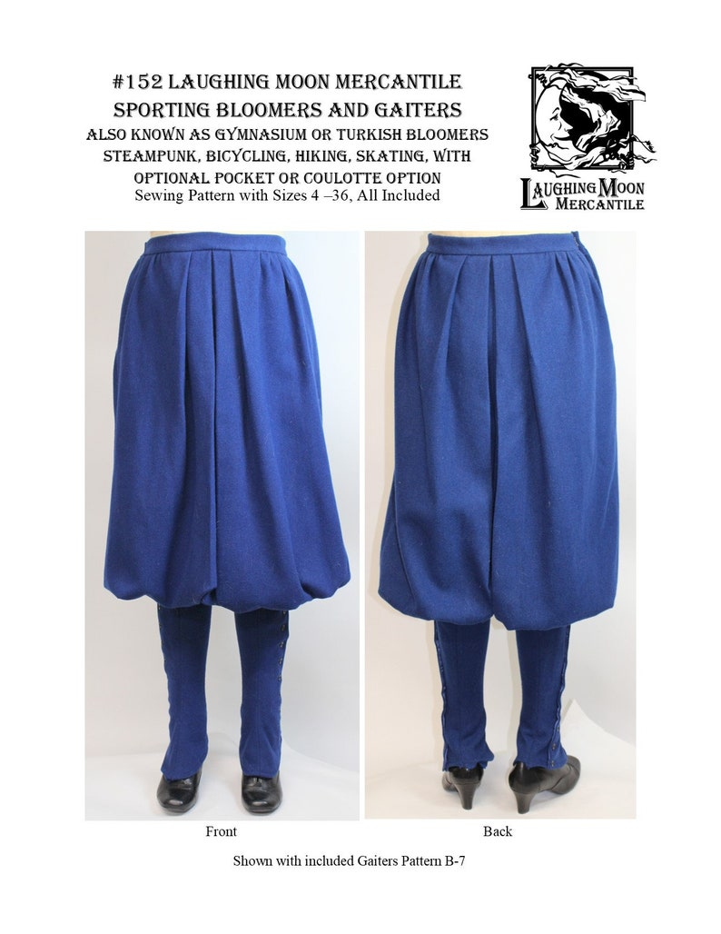 Steampunk Clothing, Fashion, Costumes     Sporting or Bicycle Bloomers with Gaiters - Laughing Moon Mercantile #152 $5.95 AT vintagedancer.com