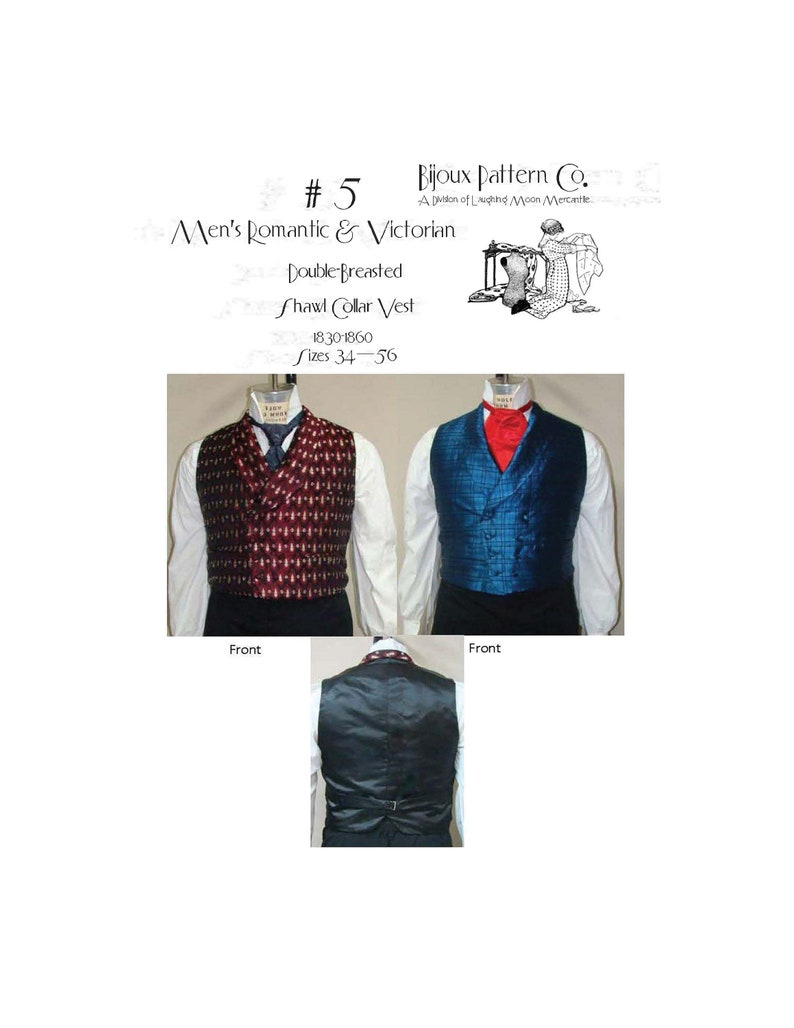 Men's Vintage Reproduction Sewing Patterns     Mens Double Breasted Shawl Collar Vest - Download of Laughing Moon Mercantiles Bijoux #5 $4.95 AT vintagedancer.com