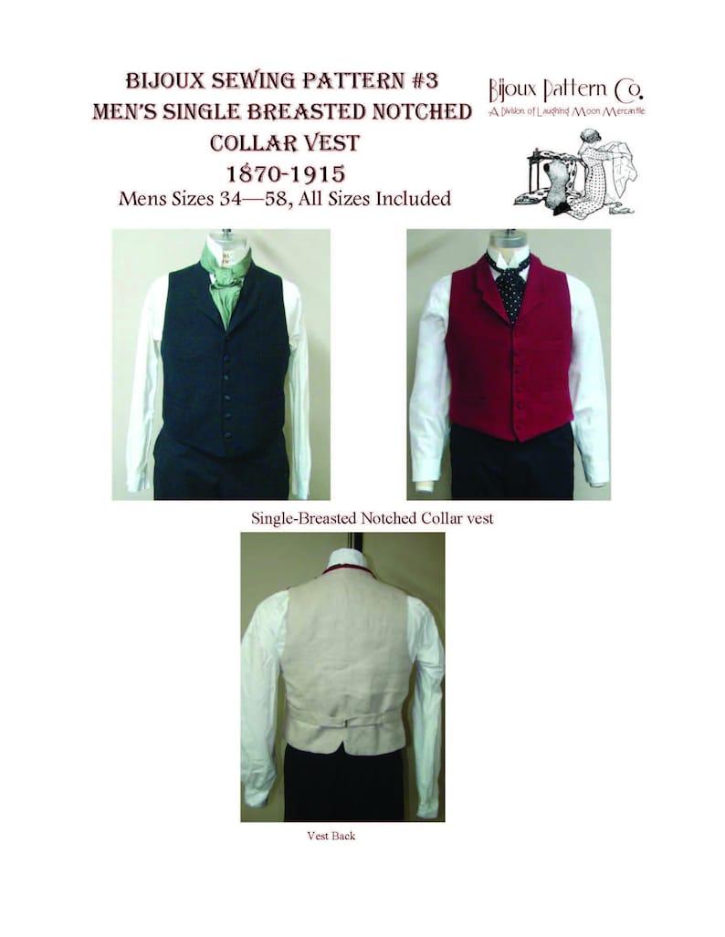 Men's Vintage Reproduction Sewing Patterns     Mens Victorian Notched Collar Vest - 1870 -1915 - Download of Laughing Moon Mercantile Bijoux #3 $4.95 AT vintagedancer.com