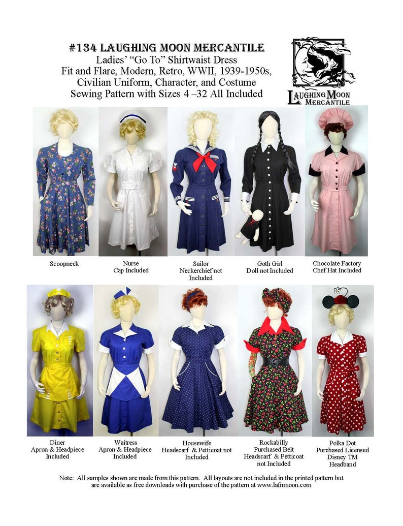 1950s Fabrics & Colors in Fashion Ladies Shirtwaist Dress for Uniform Costume Modern - Download of Laughing Moon Mercantile #134 $7.95 AT vintagedancer.com