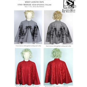 Victorian Capelet, Cape, Cloak, Shawl, Muff     Wrist Length Cape with Optional Cording - Laughing Moon Mercantile #170 $5.95 AT vintagedancer.com