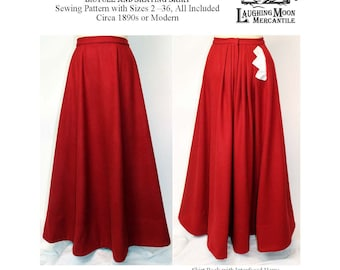 Victorian Walking Skirt with Pocket in three lengths - Laughing Moon Mercantile #101