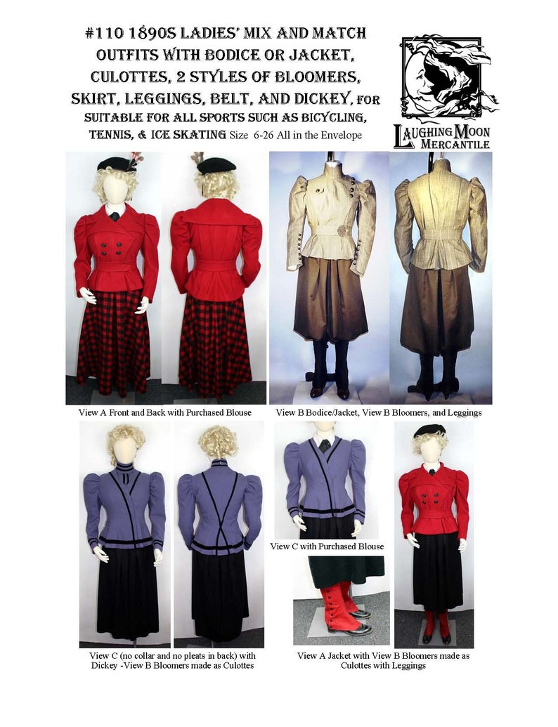 Victorian Dresses, Clothing: Patterns, Costumes, Custom Dresses Victorian Bicycle Skating and Sporting Jacket with Bloomers Skirt and Leggings 1890s - Laughing Moon Mercantile #110 $7.95 AT vintagedancer.com