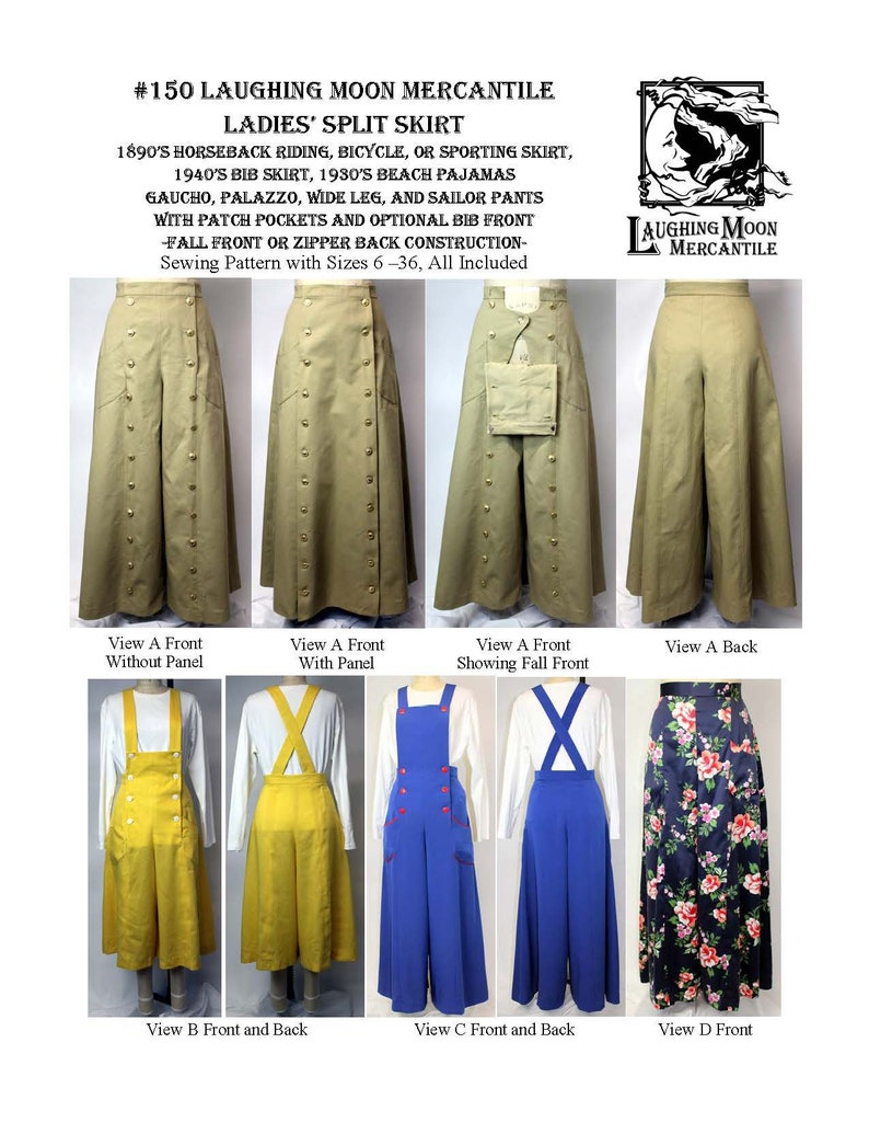 Edwardian Skirts History – 1900 – 1910s Victorian Split Skirt for Bicycle or Horseback Riding with Removeable Panel and Modern Bib versions - Laughing Moon Mercantile #150 $5.95 AT vintagedancer.com