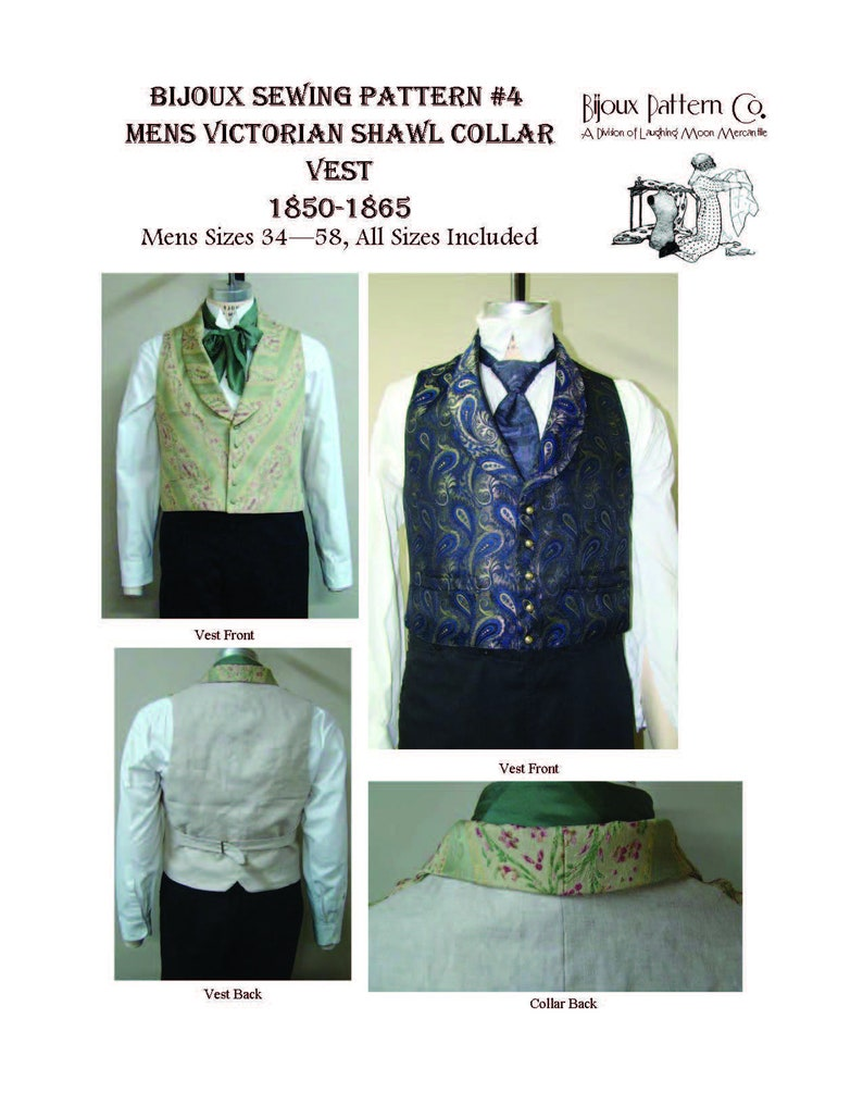 Men's Vintage Reproduction Sewing Patterns     Mens Victorian Shawl Collar Vest - Download of Laughing Moon Mercantiles Bijoux 4 $4.95 AT vintagedancer.com