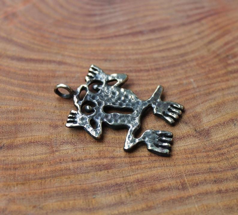 Bronze necklace  frog pendant