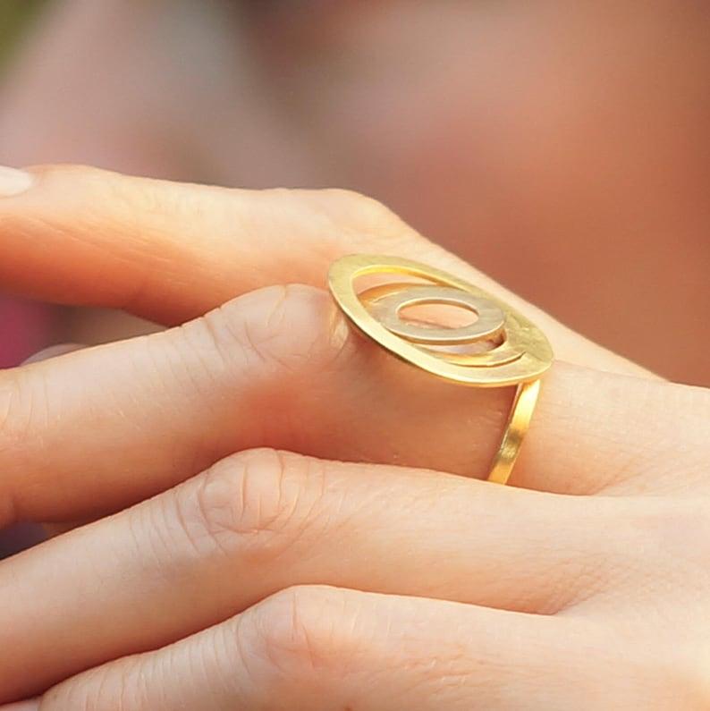 Circular Round Loop Ring Mini Circle Ring Vermeil Gold  Circle Ring