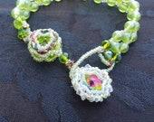 Glass and crystal adjustable bracelet with rainbow crystal rivoli focal