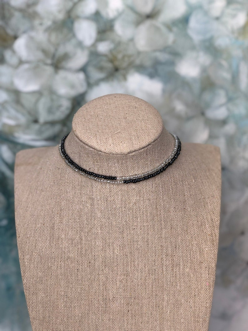 Black Clear Beads Choker Necklace Two Strands