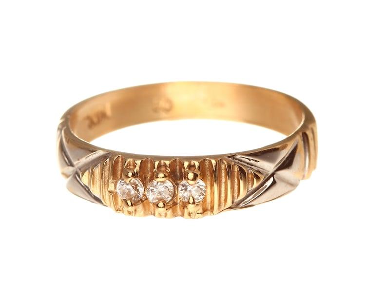 Vintage Three-Stone Channel Set Men Wedding Ring Cubic Zirconia Men/'s Wedding Ring R1179 14k Solid Yellow /& White Gold Sz 7