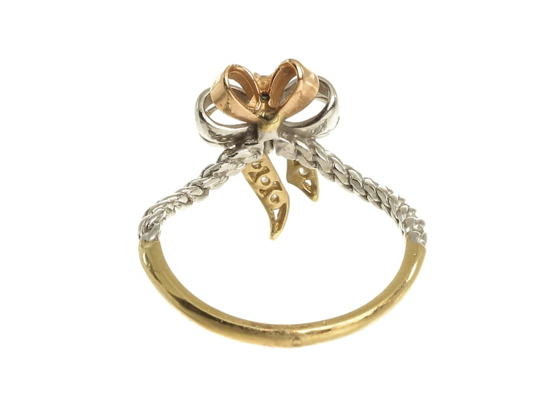 14k Solid Three-Tone Gold R1512 Vintage Feminine Tri Colors Bow With Rope Design Band And Multiple White Round Cut Gemtsones Ring Sz 7