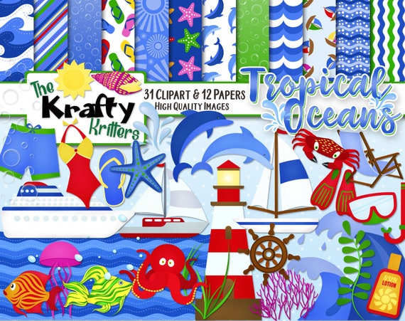 10 jpeg Papers Instant Download crab ships light house swimsuits fish sun dolfins TROPICAL OCEANS Clipart /& Papers Kit 30 png Cliparts
