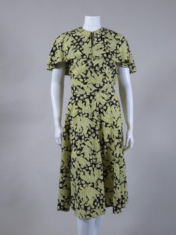 Yellow & Black Leaf Print Dress c. 1940s