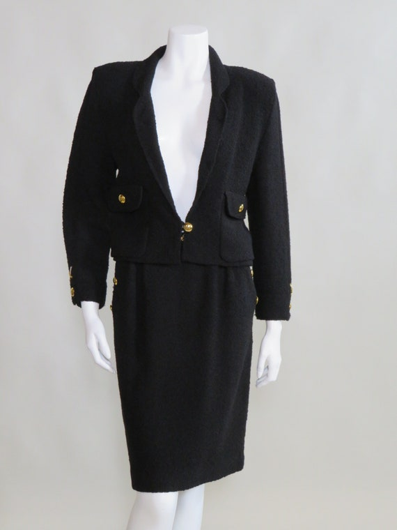 Adolfo c. 1980s 2pc Black Knit Wool Skirt Suit