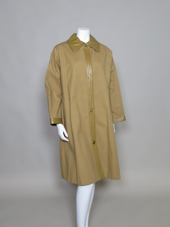 Bonnie Cashin Sills Camel Canvas & Leather Coat c… - image 1