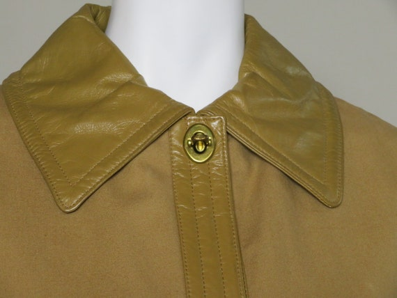 Bonnie Cashin Sills Camel Canvas & Leather Coat c… - image 2