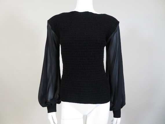 Armani Collezioni Black Blouse w/Sheer Sleeves
