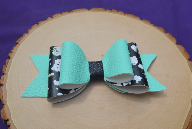 Floral Turquoise Glitter Handmade Alligator Clip Floral Hair Bows Faux Leather Hair Bows Pink