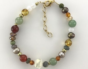 Brass fitting Crystal and Glass beads Brass Upcycled Necklace Aventurine beads Turquoise Necklace Pearl Necklace