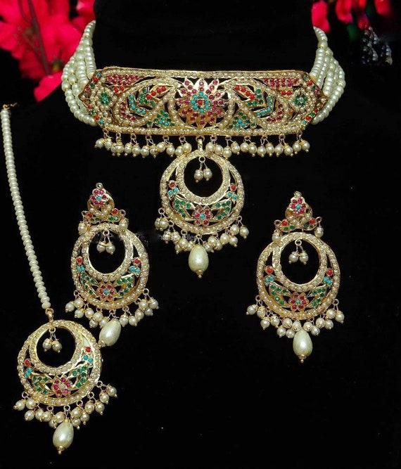 wedding Hyderabadi Jadau ruby and Polki stone set Indian jewelry Traditional Hyderabadi Tika
