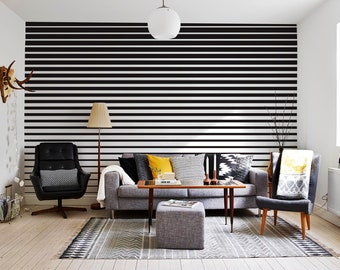 Removable Wallpaper Peel and Stick Wallpaper Wall Paper Wall Mural - Black and White Stripes - B112