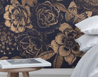Removable Wallpaper Peel and Stick Wallpaper Wall Paper Wall Mural - Vintage Flower Non-Metalic Gold Color - A922