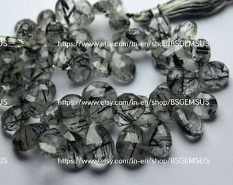 Black Rutile Faceted  pear beads briolettes,AAA quality faceted black rutile pear beads,black rutile pear briolettes 8mm 8 strand