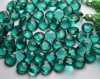 EMERALD Green Cat/'s Eye Quartz Faceted Heart Shape Briolettes 8-10 mm size 7 inches Long