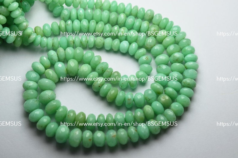 7 Inches Strand,Natural Chrysoprase Faceted Rondelles Size 6-9mm