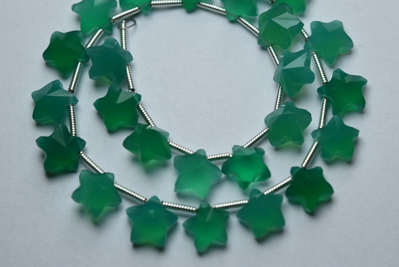 2 Matches Pair,Green Onyx Faceted Star Shape Briolettes,Size 8mm