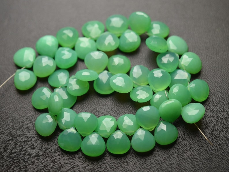 7 Inches Strand,Chrysoprase Chalcedony Faceted Heart Shape Briolettes,Size 8mm