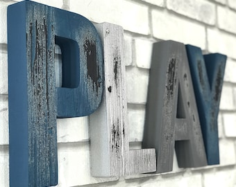 PLAY, Wall Letters, Nursery Wall Letters, Wooden Letters, Custom Wood Signs, Rustic Wood Letters