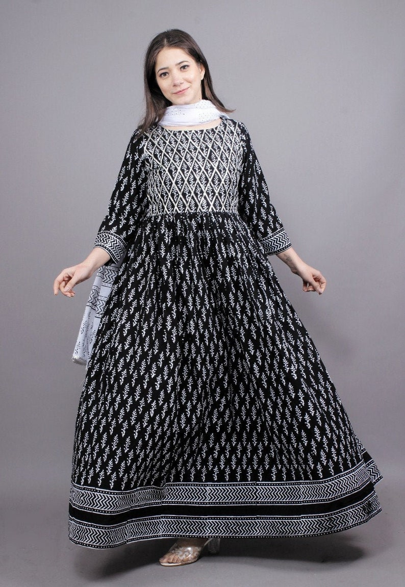 Black /& White Hand Block Print Floor Length Kurti,Gown With Duptta And Gota Streps WorkWedding GownParty WearAnimal Print
