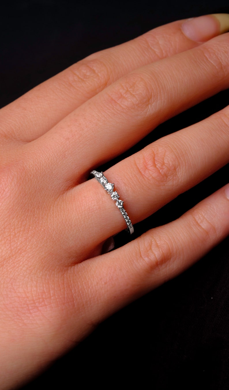 White Gold Engagement Ring Delicate Engagement Ring 14k White Gold Diamond Unique Stackable Art Deco Womn Anniversary Promise Ring For Women