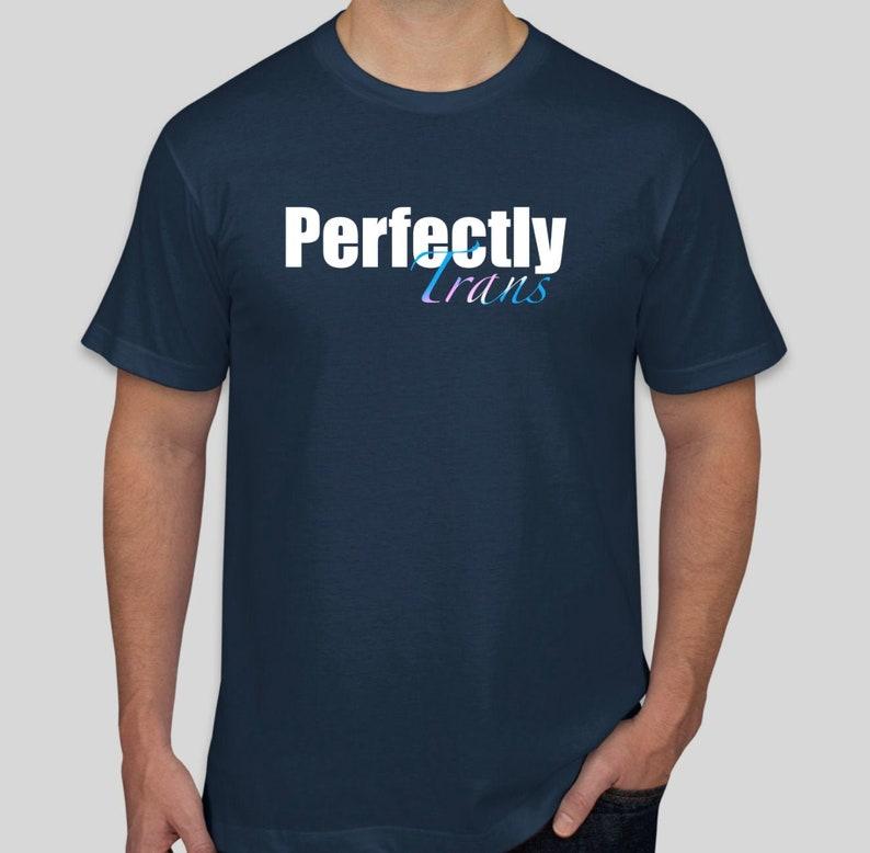 Perfectly Trans T-Shirt Men's Cut Navy Blue