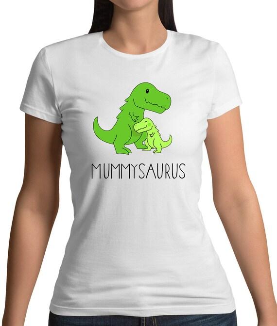 Womens T-Shirt Mummy Dinosaur Mum Mummysaurus Cute Mothers Day