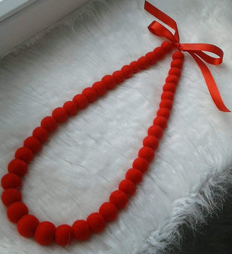 Felt balls necklace Red necklace felt jewelryRoman necklace Felted balls necklace Felted necklace Felted jewelry Long necklace Gift for girl