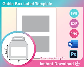 Psd Ms Word Docx 8.5x11 sheet DXF Png Gable Box Label Template SVG Printable