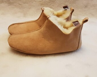 Women's Slippers, Indoor Shoes, Natural Leather, Warm and Soft, Sheepskin Boots, Suede Sole, Light Chestnut Color, Nude, Christms Gift!!!