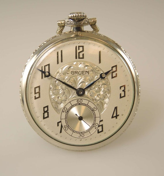 Elegant dress pocket watch by GRUEN c1926