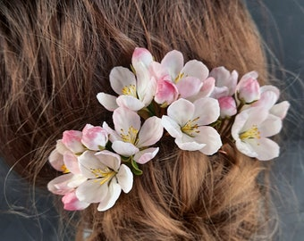 Apple blossom hairpin, Spring botanical floral hairpins, Cherry blooming flower bridal hairpiece, Blush wedding flowers for hair,