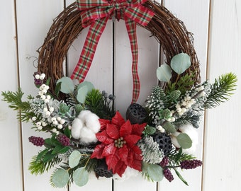 Rustic Christmas ornament, Winter wall decoration, Indoor hanging wreath,  Red Poinsettia round garland, Christmas gift, Holiday home decor