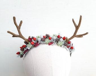 Christmas deer horns headband, Winter headpiece, Rustic winter hairpiece, Winter flower crown, Woodland headband, Forest crown Antler flower