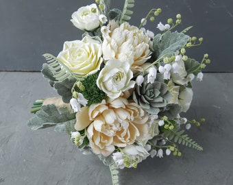 White green bridal bouquet, Lily of the valley wedding bouquet, Woodland bridal bouquet, Bridesmaid posy, Peony ranunculus wedding bouquet