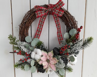 Winter wall decoration,  Indoor hanging wreath, Rustic Christmas ornament, Pink Poinsettia round garland, Christmas gift, Country home decor