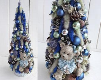 Mini alternative christmas tree, Lagurus dried flowers natural X-mas tree, Christmas eco ornament, Winter home decoration, Rustic home decor