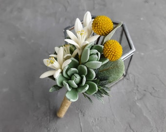 Succulent rustic boutonniere, Yellow and white orange blossoms fiance boutonniere, Flower corsage, Groomsmen flower, Wedding boutonniere
